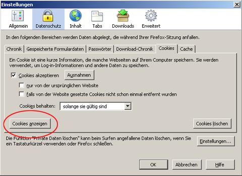 Cookies im Mozilla FireFox 1.5.0.7. :: LaserSoft Imaging