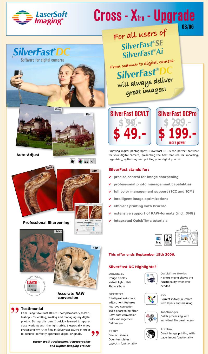 Promotion: SilverFast DC VLT (49$) and SilverFast DC Pro (199$)
